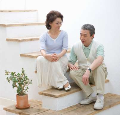 Older couple on stairs
